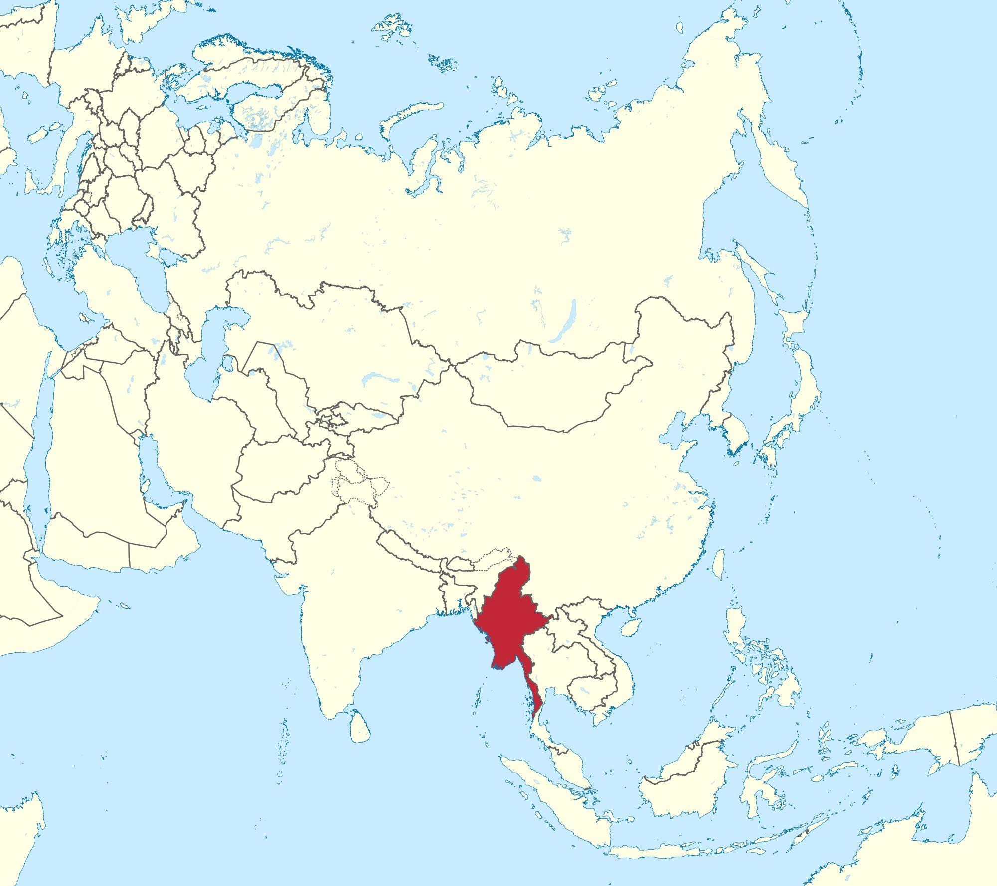 Burma Na Karti Svijeta Karta Svijeta Mijanmar Burma Jugo